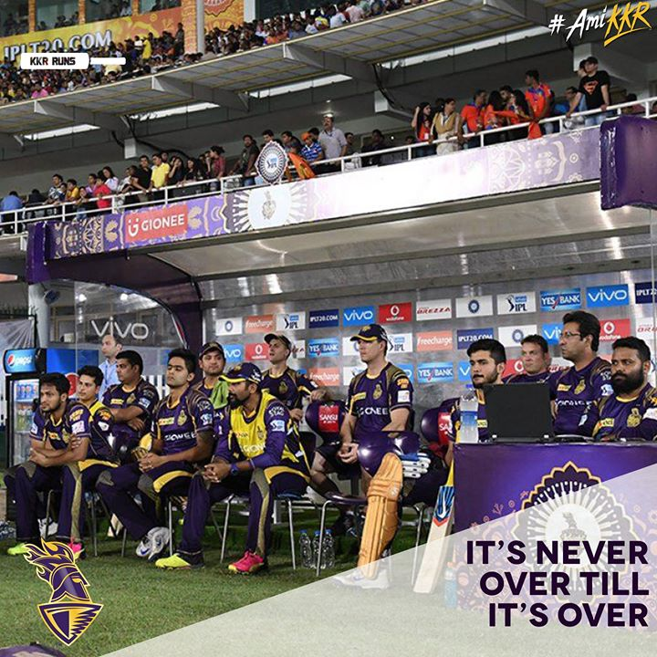 Kolkata Knight Riders Outplayed… hopefully not ousted from the tournament. Well played GL. Deserving winners. #AmiKKR we need to relearn how to rule…