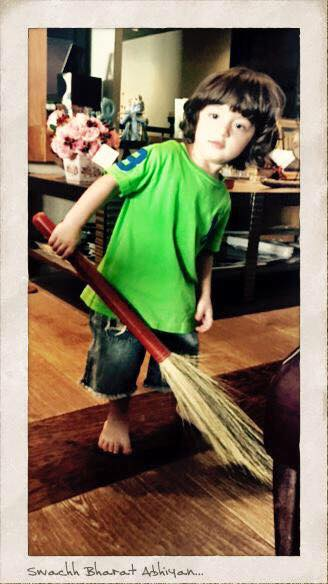 Starting him young to believe in Clean India….Green India…& maybe a round or two of Quidditch!!
