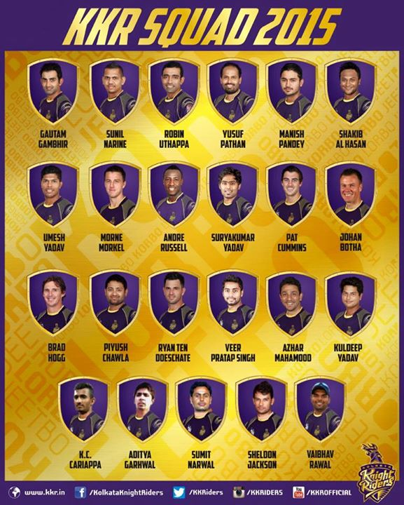 And my boys are in full strength. Kolkata Knight Riders squad are now ready & all set to play their hearts out. Love you guys…see you on the 8th.