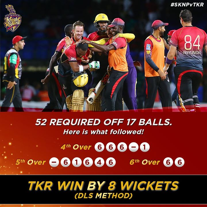 #TKR WOW! I think it's time I join u guys for the biggest party in sports. Well done boys.
