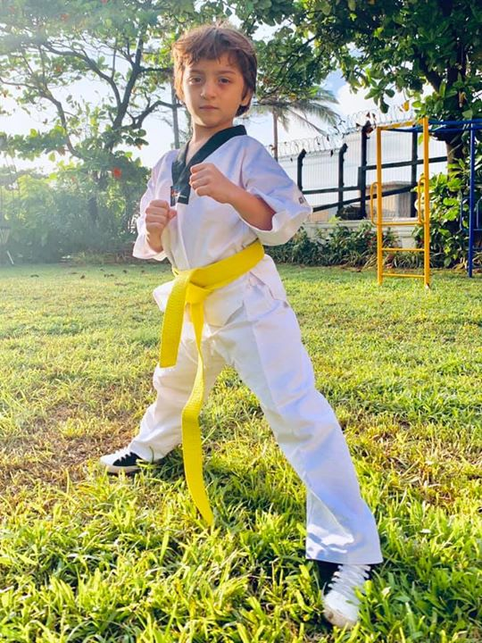 Keeping up the tradition of Tae 'Khan' Doh in the family, the latest entrant to the Kiran Teacher Fight Club. Yellow belt it is...