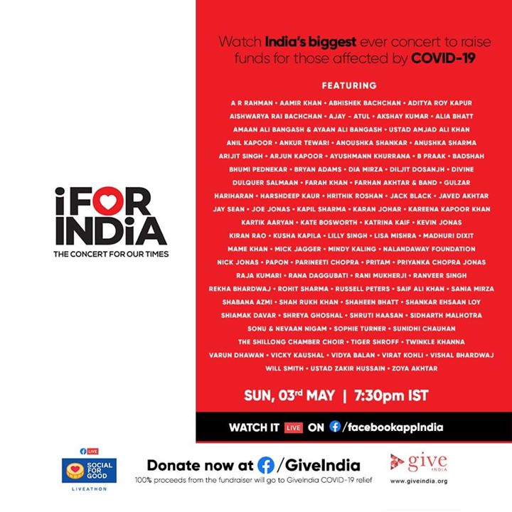 Happy to participate in #IForIndia... a concert to raise funds for those affected by Covid-19.  Sunday, 3rd May, 7:30 PM IST.  Concert dekhiye aur yaad rakhiye... Sab Sahi Ho Jayega.   Watch it LIVE here: https://m.facebook.com/facebookappIndia/