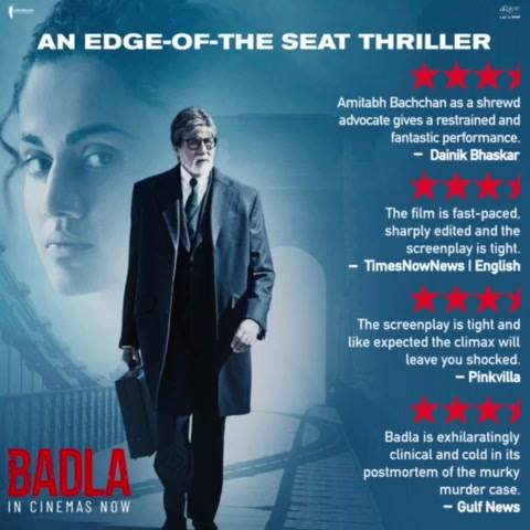 So glad people are loving #Badla. A big thanks to the audiences who gave a warm welcome to the film!