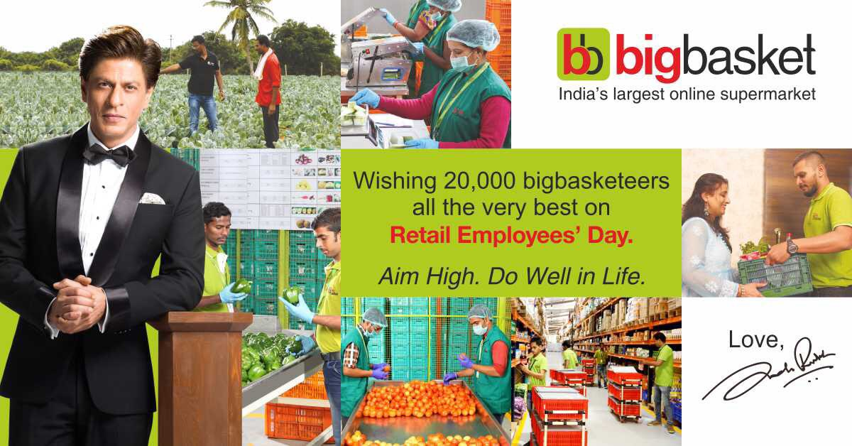 Wishing 20,000 bigbasketeers all the very best on Retail Employees' Day. Aim High. Do Well in Life. @bigbasket_com https://t.co/TK9ETgJ1BB